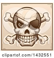 Clipart Of A Halftone Pirate Skull And Crossbones Poster Design Royalty Free Vector Illustration by Cory Thoman