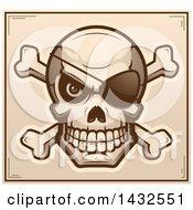 Poster, Art Print Of Halftone Pirate Skull And Crossbones Poster Design