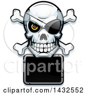 Clipart Of A Halftone Pirate Skull And Crossbones Over A Blank Sign Royalty Free Vector Illustration by Cory Thoman