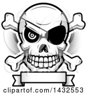 Clipart Of A Halftone Black And White Evil Pirate Skull And Crossbones Over A Blank Banner Royalty Free Vector Illustration