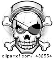 Clipart Of A Halftone Black And White Evil Pirate Skull And Crossbones Under A Blank Banner Royalty Free Vector Illustration