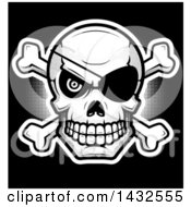 Clipart Of A Halftone Pirate Skull And Crossbones On Black Royalty Free Vector Illustration by Cory Thoman