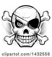 Clipart Of A Halftone Black And White Pirate Skull And Crossbones Royalty Free Vector Illustration by Cory Thoman