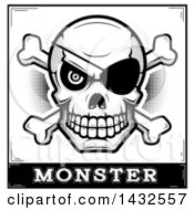 Clipart Of A Halftone Black And White Pirate Skull And Crossbones Over Monster Text Royalty Free Vector Illustration by Cory Thoman