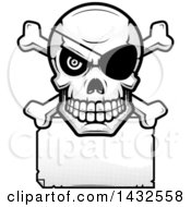 Clipart Of A Halftone Black And White Pirate Skull And Crossbones Over A Blank Paper Sign Royalty Free Vector Illustration by Cory Thoman
