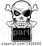 Clipart Of A Halftone Black And White Pirate Skull And Crossbones Over A Blank Sign Royalty Free Vector Illustration by Cory Thoman