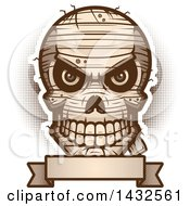 Clipart Of A Halftone Evil Mummy Skull Over A Blank Banner Royalty Free Vector Illustration