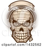 Clipart Of A Halftone Evil Mummy Skull Under A Blank Banner Royalty Free Vector Illustration