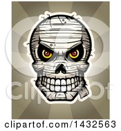 Clipart Of A Halftone Evil Mummy Skull Over Rays Royalty Free Vector Illustration by Cory Thoman