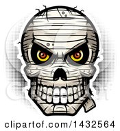 Clipart Of A Halftone Evil Mummy Skull Royalty Free Vector Illustration by Cory Thoman