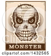 Clipart Of A Halftone Evil Mummy Skull Over Monster Text Royalty Free Vector Illustration by Cory Thoman