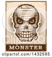 Poster, Art Print Of Halftone Evil Mummy Skull Over Monster Text