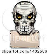 Clipart Of A Halftone Evil Mummy Skull Over A Blank Paper Sign Royalty Free Vector Illustration by Cory Thoman