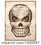 Clipart Of A Halftone Evil Mummy Skull Poster Design Royalty Free Vector Illustration