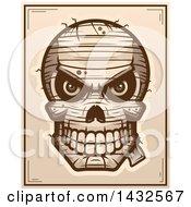 Poster, Art Print Of Halftone Evil Mummy Skull Poster Design