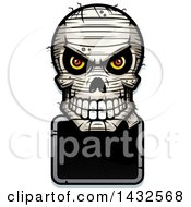 Clipart Of A Halftone Evil Mummy Skull Over A Blank Sign Royalty Free Vector Illustration by Cory Thoman