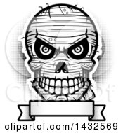 Clipart Of A Halftone Black And White Evil Mummy Skull Over A Blank Banner Royalty Free Vector Illustration