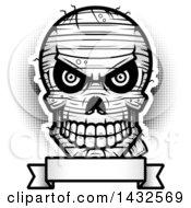 Poster, Art Print Of Halftone Black And White Evil Mummy Skull Over A Blank Banner