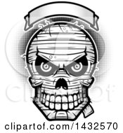 Clipart Of A Halftone Black And White Evil Mummy Skull Under A Blank Banner Royalty Free Vector Illustration