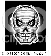 Clipart Of A Halftone Evil Mummy Skull On Black Royalty Free Vector Illustration