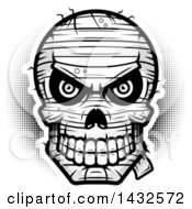 Clipart Of A Halftone Black And White Evil Mummy Skull Royalty Free Vector Illustration by Cory Thoman
