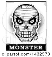 Clipart Of A Halftone Black And White Evil Mummy Skull Over Monster Text Royalty Free Vector Illustration by Cory Thoman