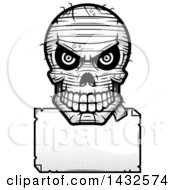 Clipart Of A Halftone Black And White Evil Mummy Skull Over A Blank Paper Sign Royalty Free Vector Illustration