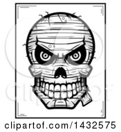 Clipart Of A Halftone Black And White Evil Mummy Skull Poster Design Royalty Free Vector Illustration by Cory Thoman