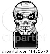Clipart Of A Halftone Black And White Evil Mummy Skull Over A Blank Sign Royalty Free Vector Illustration by Cory Thoman