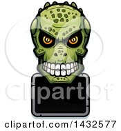 Clipart Of A Halftone Lizard Man Skull Over A Blank Sign Royalty Free Vector Illustration by Cory Thoman