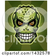 Clipart Of A Halftone Lizard Man Skull Over Rays Royalty Free Vector Illustration by Cory Thoman