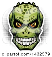 Clipart Of A Halftone Lizard Man Skull Royalty Free Vector Illustration by Cory Thoman