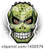 Clipart Of A Halftone Lizard Man Skull Royalty Free Vector Illustration