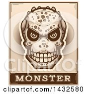 Clipart Of A Halftone Lizard Man Skull Over Monster Text Royalty Free Vector Illustration by Cory Thoman