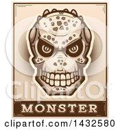 Poster, Art Print Of Halftone Lizard Man Skull Over Monster Text