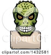 Clipart Of A Halftone Lizard Man Skull Over A Blank Paper Sign Royalty Free Vector Illustration