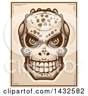 Clipart Of A Halftone Lizard Man Skull Poster Design Royalty Free Vector Illustration by Cory Thoman