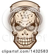 Clipart Of A Halftone Evil Lizard Man Skull Under A Blank Banner Royalty Free Vector Illustration