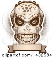 Clipart Of A Halftone Evil Lizard Man Skull Over A Blank Banner Royalty Free Vector Illustration