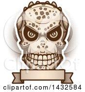 Poster, Art Print Of Halftone Evil Lizard Man Skull Over A Blank Banner