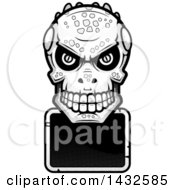 Clipart Of A Halftone Black And White Lizard Man Skull Over A Blank Sign Royalty Free Vector Illustration