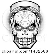 Clipart Of A Halftone Black And White Evil Lizard Man Skull Under A Blank Banner Royalty Free Vector Illustration