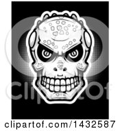 Halftone Lizard Man Skull On Black