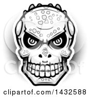 Clipart Of A Halftone Black And White Lizard Man Skull Royalty Free Vector Illustration by Cory Thoman
