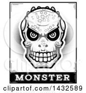 Clipart Of A Halftone Black And White Lizard Man Skull Over Monster Text Royalty Free Vector Illustration