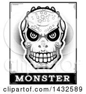 Poster, Art Print Of Halftone Black And White Lizard Man Skull Over Monster Text