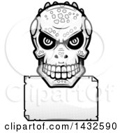Clipart Of A Halftone Black And White Lizard Man Skull Over A Blank Paper Sign Royalty Free Vector Illustration