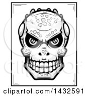 Clipart Of A Halftone Black And White Lizard Man Skull Poster Design Royalty Free Vector Illustration by Cory Thoman