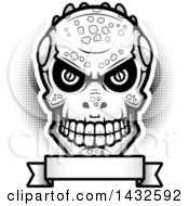 Clipart Of A Halftone Black And White Evil Lizard Man Skull Over A Blank Banner Royalty Free Vector Illustration