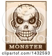 Poster, Art Print Of Halftone Evil Zombie Skull Over Monster Text